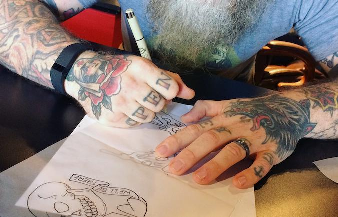 Brian Kindamo (American Classic Tattoo) tracing tattoo my stencils