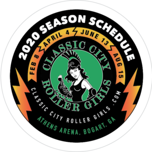 2020 Schedule Coaster for the Classic City Rollergirls